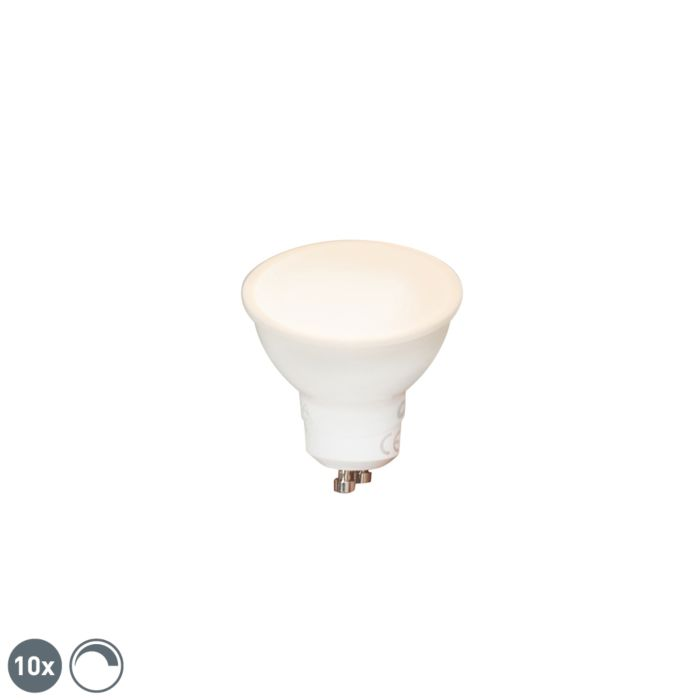 Set-mit-10-dimmbaren-GU10-LED-Lampen-6W-450-lm-2700K