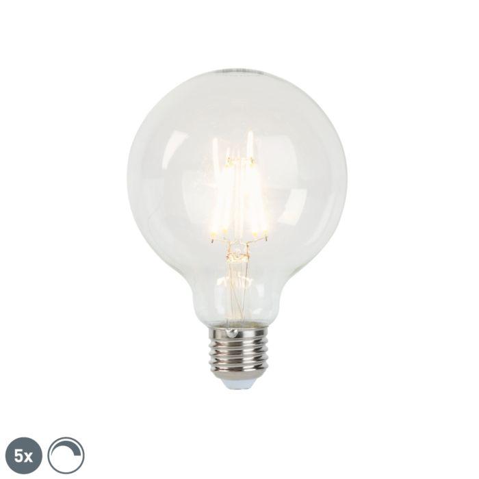 Set-mit-5-dimmbaren-LED-Glühlampen-E27-G95-5W-470-lm-2700K