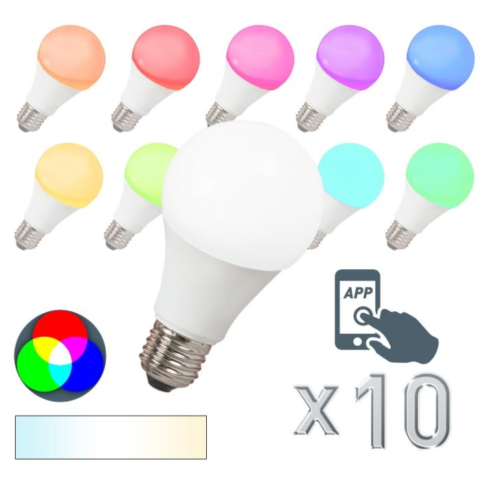 10er-Set-LED-Leuchtmittel-E27-240V-7W-/-500lm-A60-Smart-Light