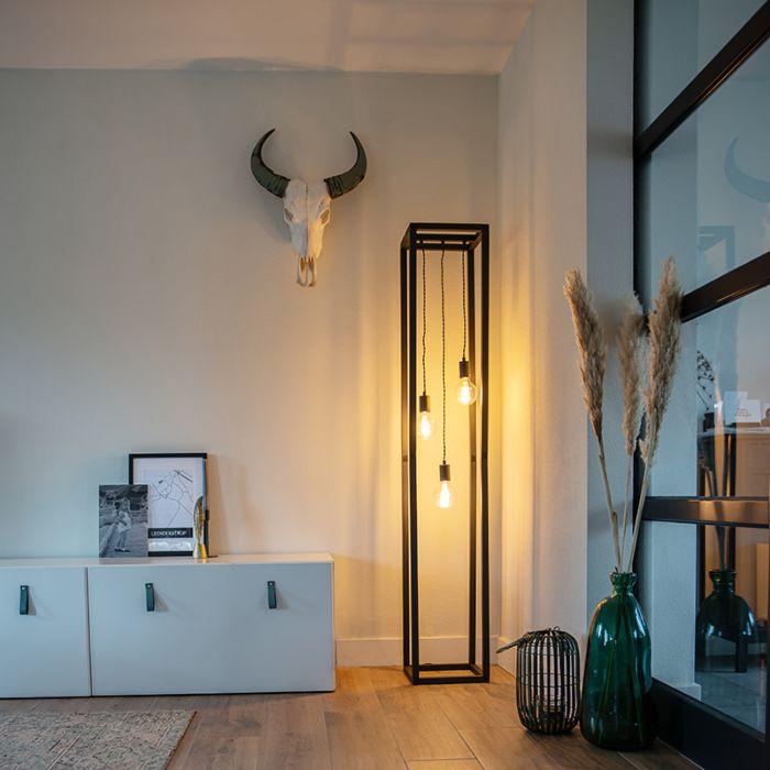 Design-Stehleuchte-schwarz-3-Licht---Käfig