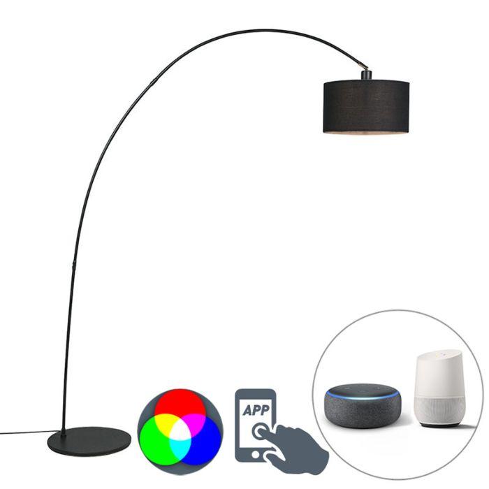 Intelligente-moderne-Bogenlampe-schwarz-inkl.-A60-Wifi---Vinossa