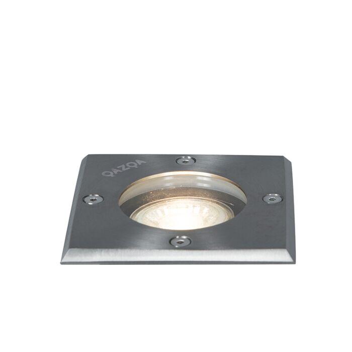 Bodeneinbaustrahler-für-außen-Edelstahl-gebürstet-10,5-cm-IP65---Basic-Square