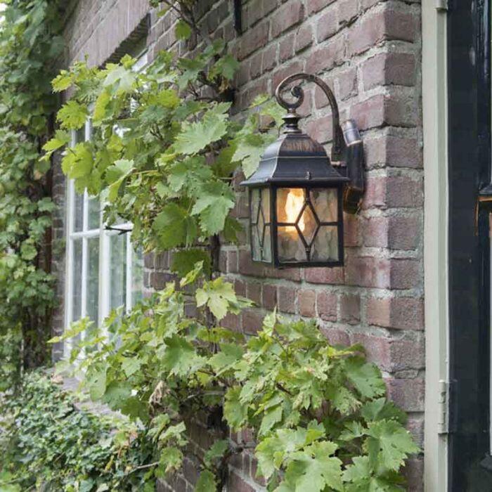 Romantische-Außenwandleuchte-Bronze---London