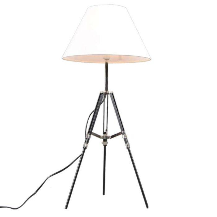Tischleuchte-Tripod-schwarz-mit-weißem-Schirm
