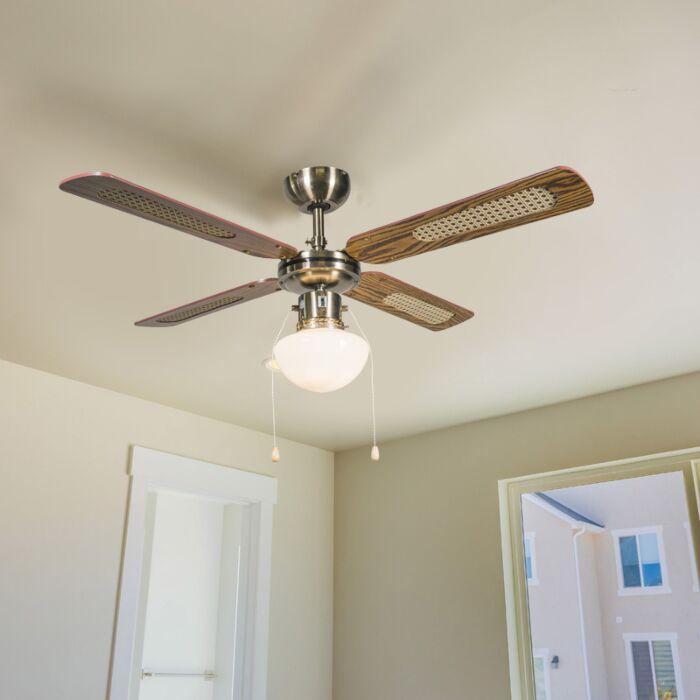 Industrieller-Deckenventilator-mit-Lampe-100-cm-Holz---Wind