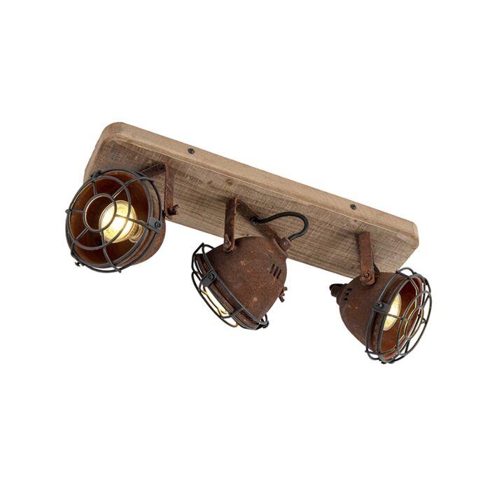 Industriestrahler-rostbraun-mit-Holz-kippbar-3-Licht---Gina