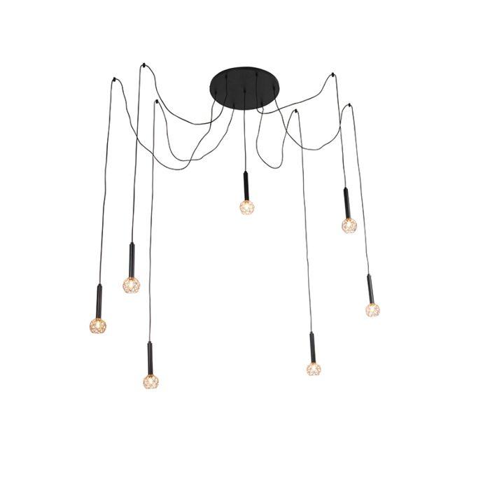 Hängelampe-schwarz-mit-Kupfer-7-Lichtern---Mesh
