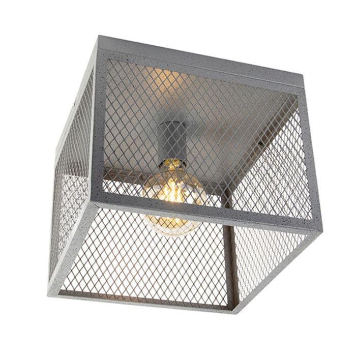 Industrielle-Deckenleuchte-Antik-Silber---Cage-Robusto