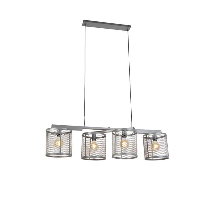 Industrielle-Hängelampe-Antik-Silber-4-Licht---Cage-Robusto